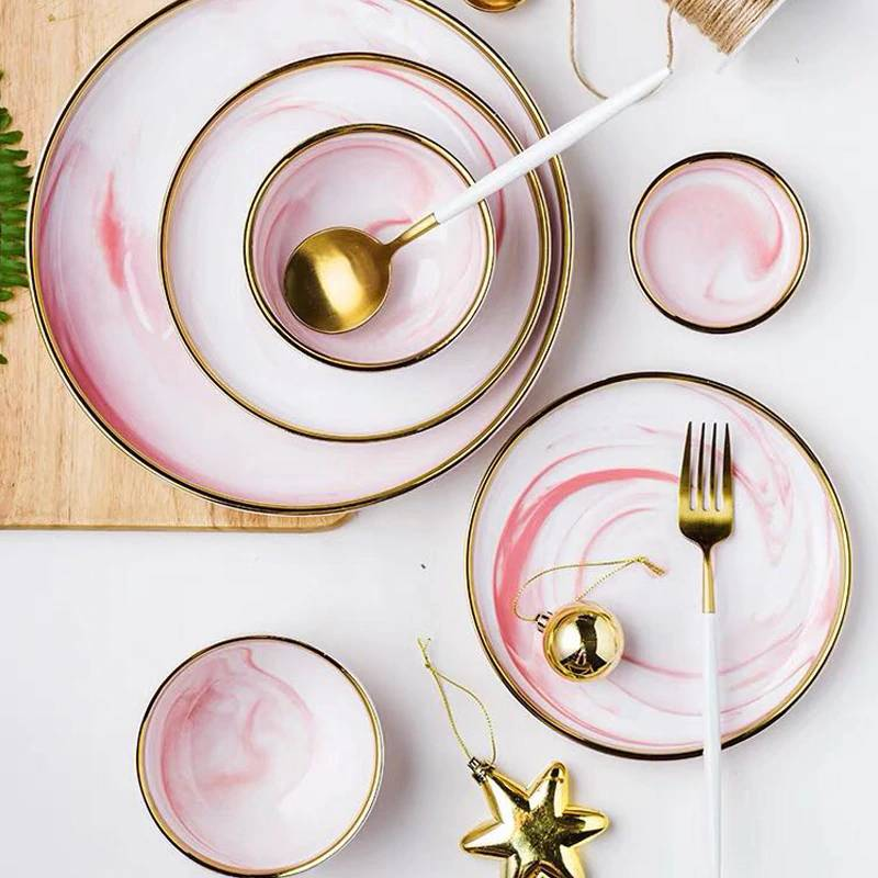 1pc Pink Marble Ceramic Dinner Dish Plate Rice Salad Noodles Bowl Soup Plates Dinnerware Sets Home Tableware Kitchen Cook Tool