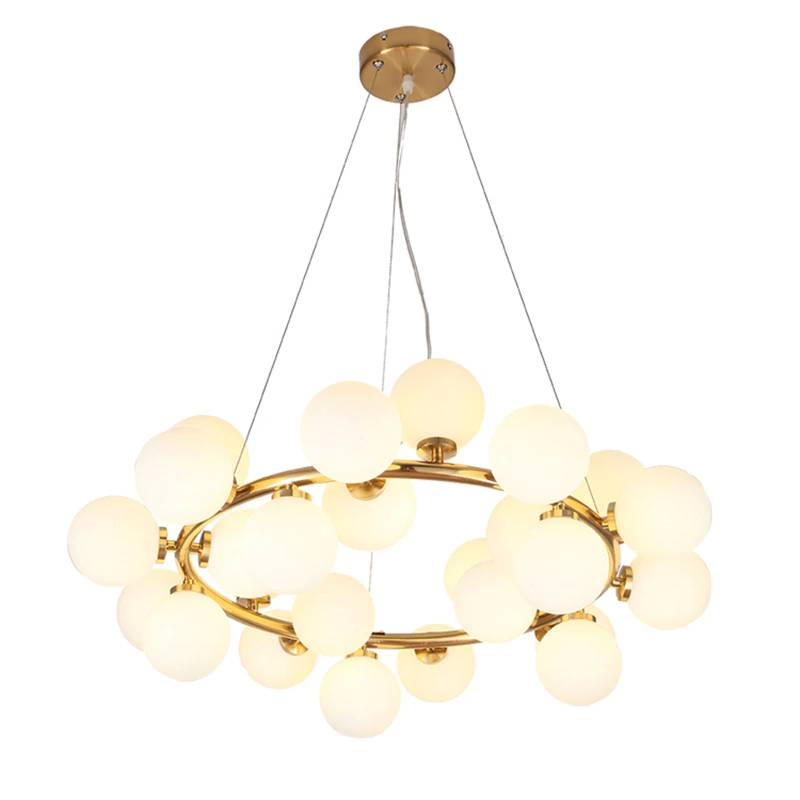 25 head Nordic creative circle led chandelier light Round Bubble glass lampshade villa G4 LED lamp 3W AC220V