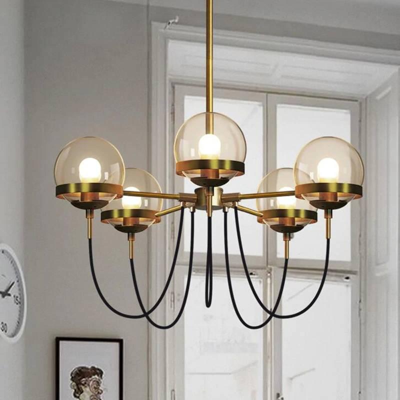 5 Heads Nordic Modern American Cafe  Restaurant LED Pendant Lamp Cognac Glass Ball Bedroom Home Deco Light Fixtures