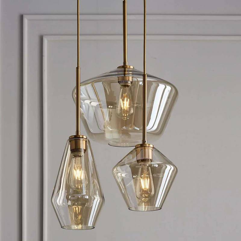 American Restaurant Hanglamp Copper Glass E27 LED Pendant Lights Nordic Modern Indoor Deco Pendant Hanging Lamp Fixtures