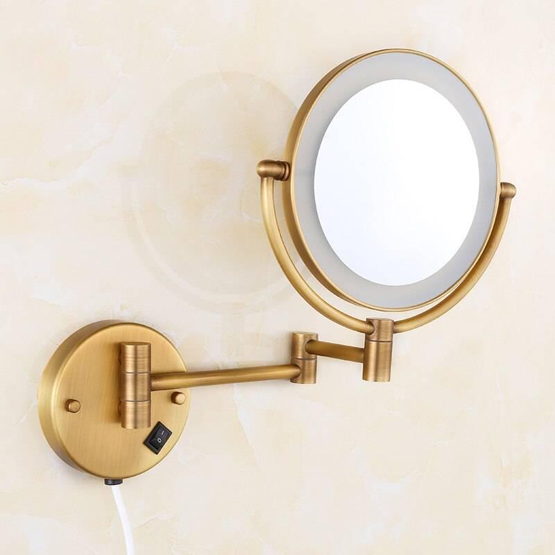 "Bath Mirrors Brass Antique 8"" Round Wall Mirrors of Bathroom Light LED Mirror Folding Cosmetic Vintage Mirror 2068F"
