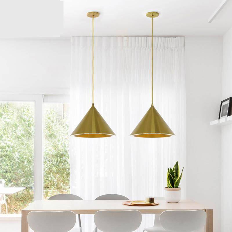 brass Nordic Restaurant Pendant Lights reading room hanging lamp gold aluminum Suspension Luminaire new kitchen bar Lighting