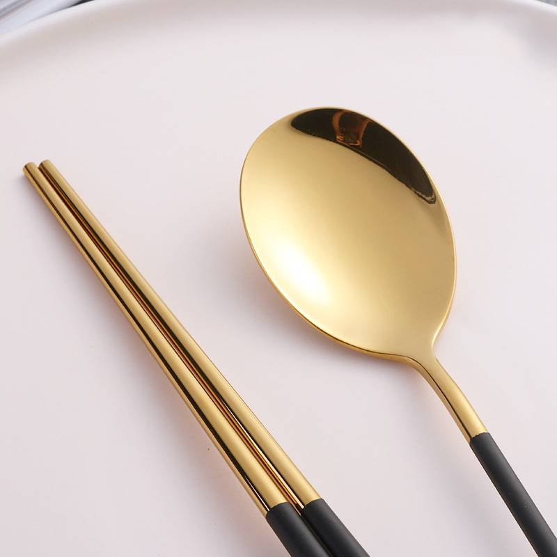 10 Pairs Stainless Steel  Traditional Chopsticks and Spoon 18/10 Flatware For Sushi Food Noodle Kitchen Hashi