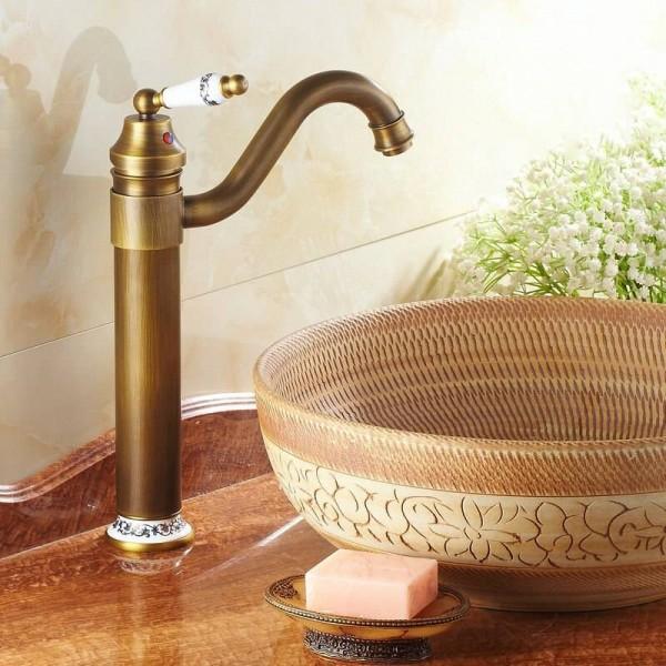 "13"" Antique Brass & Porcelain Faucets Kitchen Sink Bathroom Basin Brass Faucet Mixer Tap Swivel 98831AP"