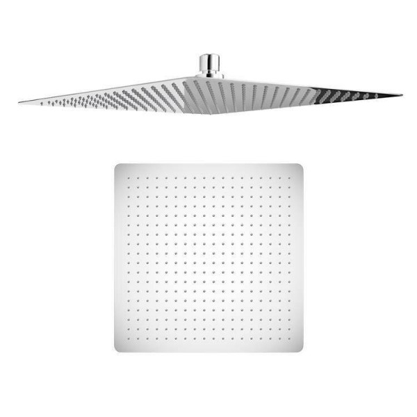 """16"""" Square Ultra Thin Shower Head with Chrome Bathroom Massage Body Jets Mixer Faucets"""