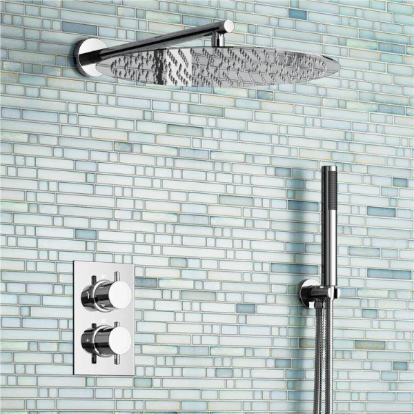 "16"" Ultra Thin Round Mixer Thermostatic Shower Set Bathroom Valve Set Chrome Hand Held Head"