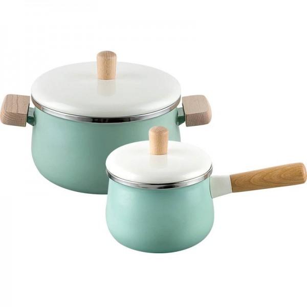 1.8L/3.3L Porcelain Milk Pot Enamel Cooking Pan Non-stick Soup Pot With Lid Induction Cooker Gas Stove Cookware