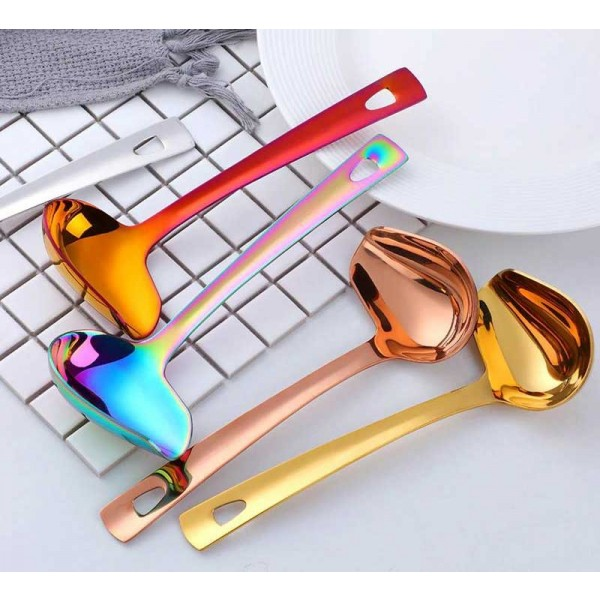 1 Pcs Stainless Steel Soup Ladle With Long Handle Hot Pot Spout Slotted Soup Duck Mouth Shaped Kitchen Cooking Tools Utensils