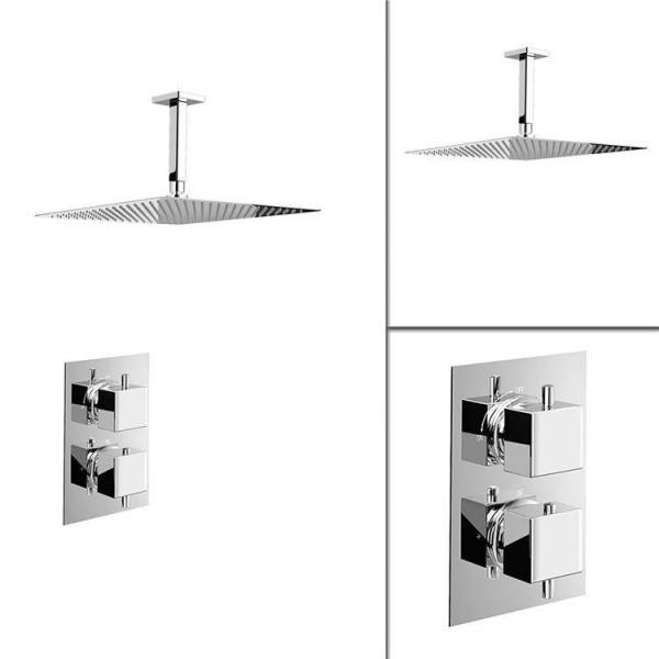"1 way Square 16"" Ceiling Mixer Thermostatic Shower Set Ultra Thin Head Chrome Bathroom Valve Set"