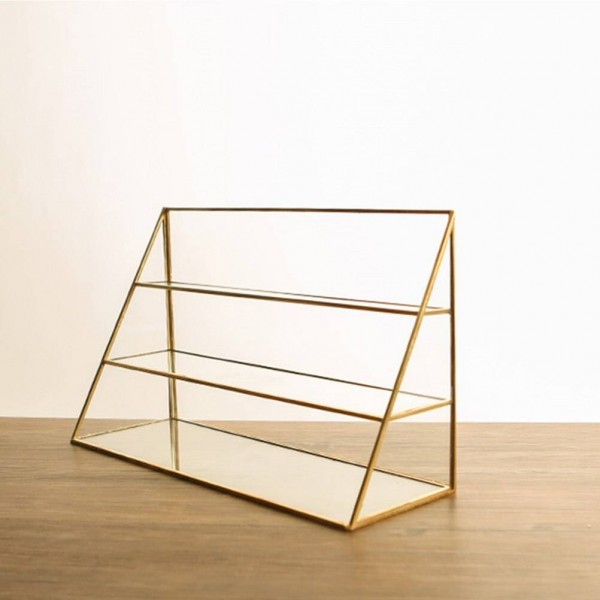 1pc Storage Rack Three-layer Desktop Portable Nordic Style Brass Glass Rack Jewelry Rack Necklace Holder for Home Jewelry Shop