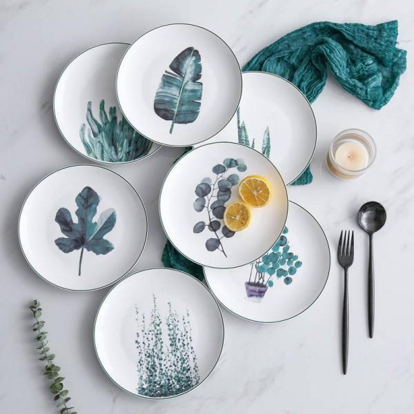 1PCS 8inch Green Plants Porcelain Dinner Plate Tableware Dinner Set Ceramic Dessert Dish Dinnerware Cake Beef Steak Plate