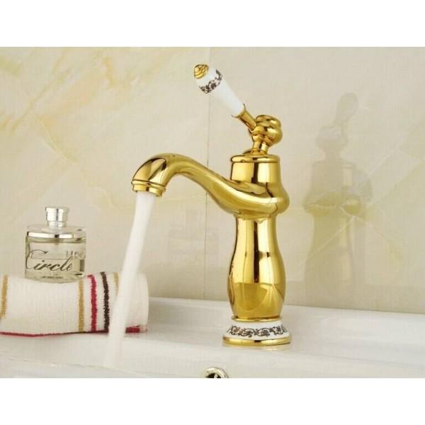 Bathroom Basin Faucet Gold finish Brass Mixer Tap with ceramic torneiras para banheiro XT808