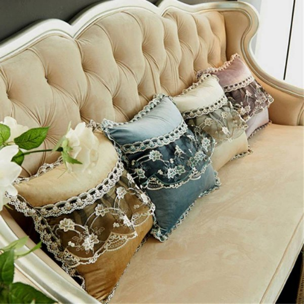 Velvet luxury Sofa Cushion Cover Round Lace Tassel Around Bed Home Car Chair Model Room Ornament