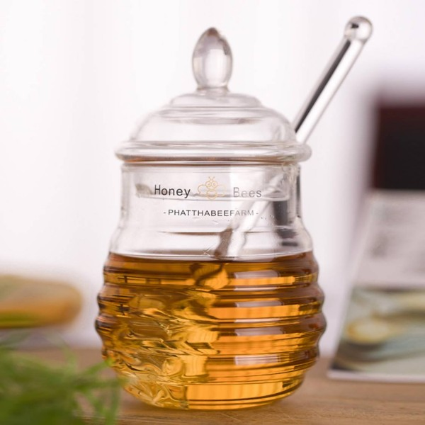290ML high quality Honey Bees jar Glass honey jar Crystal lemon bottle Jam jar Seasoning tools