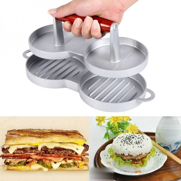 2 Slot DIY Cakes Patty Maker Aluminum Nonstick Double Burger Press Meat Beef Grill Home Kitchen BBQ Cooking Tools