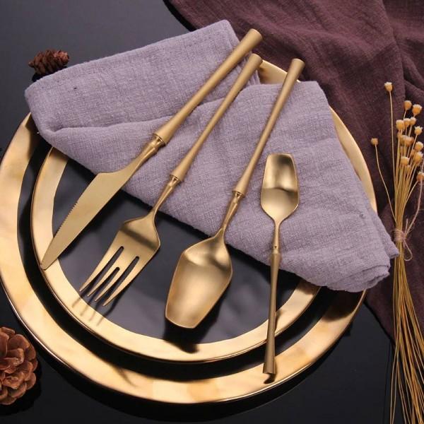 Stainless Steel Cutlery Set Gold Dinner Set Food Tableware Gift Forks Tea Spoon