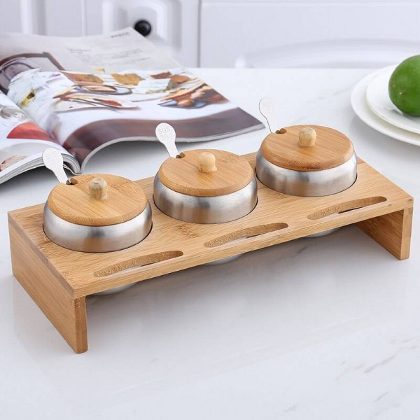304 stainless steel seasoning tank combination 3 piece set Wooden frame seasoning box Kitchen supplies Spice jars salt shakers