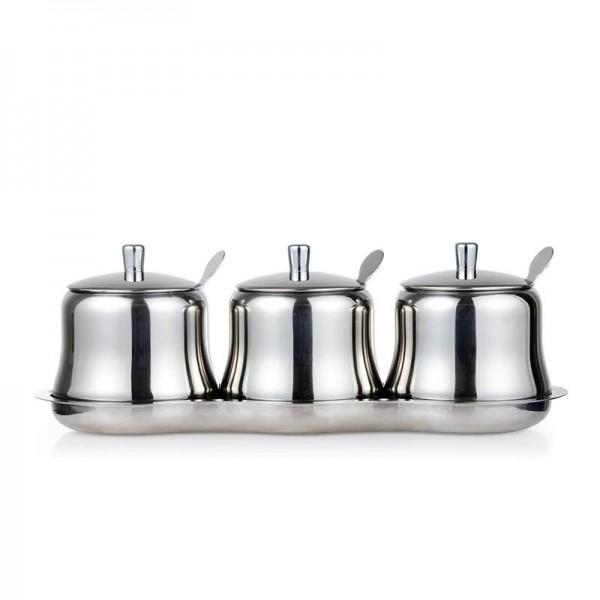 304stainless steel Condiment spherical Spice Jars Set Salt Pepper Shakers Seasoning Sprays Cooking Kitchen Tool cereal dispenser