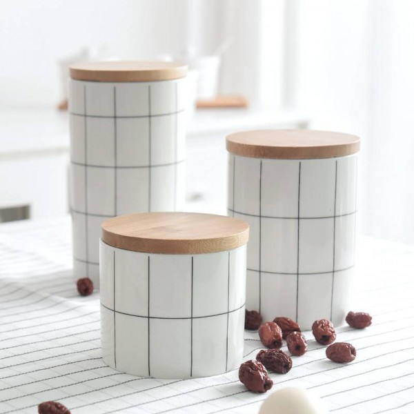 400ML/700ML/880MLSealed Ceramic Storage Jar For Spices Tank Container For Eating With Lid Bottle Coffee Tea Caddy Kitchen