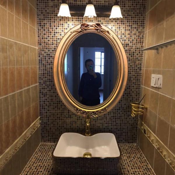 Luxury 40cmx49cm European Antique Bathroom Mirror Decoration Wall Toilet Mirror Wash Basin Bath Wall Decorative Mirror For Living Room 40cmx49cm European Antique Bathroom Mirror Decoration Wall Toilet Mirror Wash Basin Bath Wall Decorative