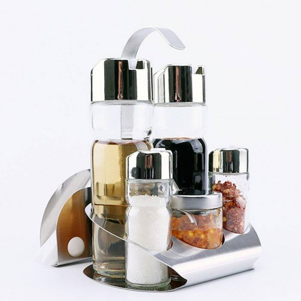 5Pcs Kitchen Glass Spices Bottles Toothpick Holder Seasoning Storage Rack Set Hot