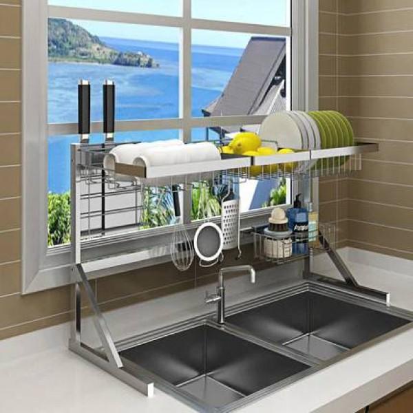 64/84cm Stainless steel drying bowl sink rack drain kitchen rack supplies 2 layer storage rack pool put dish rack cupboard