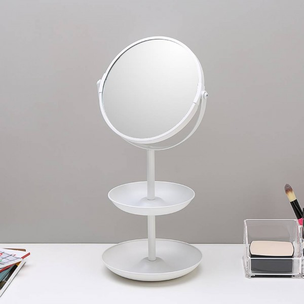 6.5-inch simple double-sided mirror makeup mirror dressing table mirror desktop double-layer storage decorative mirror wx8161509