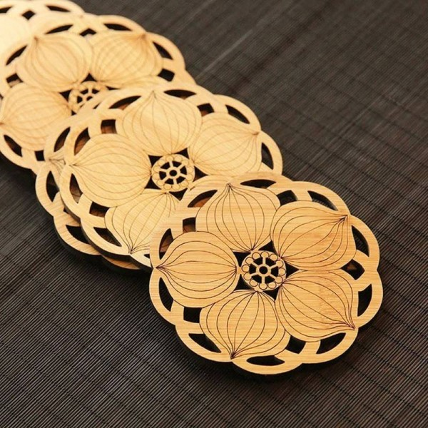 6 Pcs Round Bamboo Coffee Coaster Set Anti-slip Mat Table Decoration Accessories Flowers Cup Pad Hollow Carving Handmade Wooden