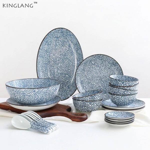 6 Person Porcelain Dinner Plate Set 22 heads Japanese Design Ceramic Dinnerware Set