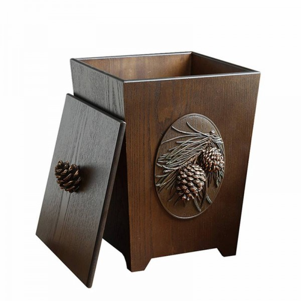 6L Wood Carving Trash Can Eco-Friendly Double Layer Dustbin Trash Bin Storage Bucket For Living Room Kitchen Car Rubbish Bins
