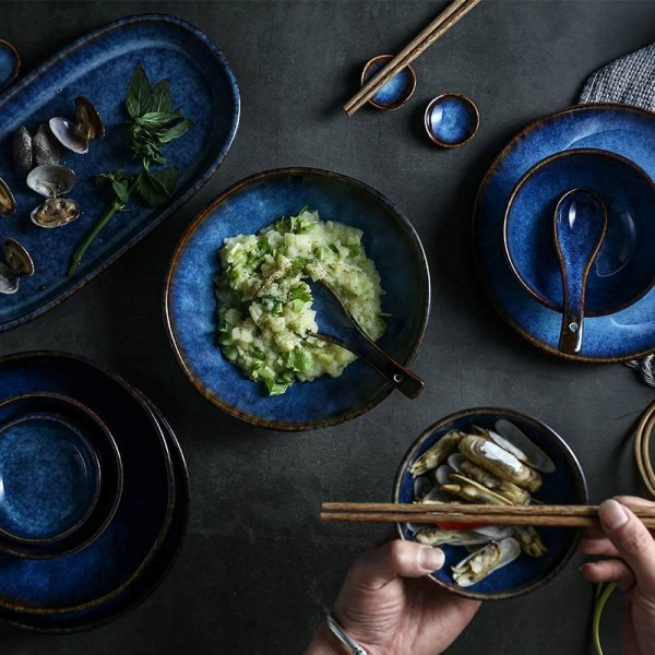 7 heads or 14heads or 32heads deep blue ceramic tableware dinner set plate bowl cup sauce dish porcelain tableware