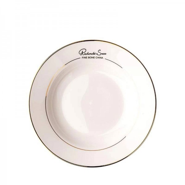 8 Inch Brief Gold Border Bone Soup Plate Hotel Spaghetti Vegetables Deep Dish Handmade Tableware Pastry Round Saucer Gifts