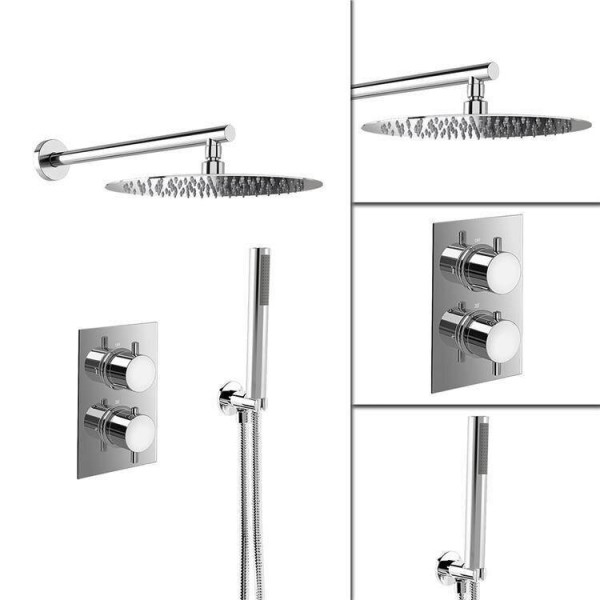 """8"""" Ultra Thin Round Mixer Thermostatic Shower Head Set with Bathroom Valve Chrome Hand Held Head"""