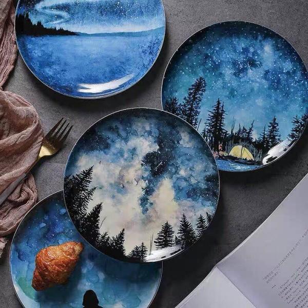 8inch Stars Bone Breakfast Plate Gift Dish Tableware Home Decoration Handmade Ceramic Plate Cake Pastry Fruit Cake plate