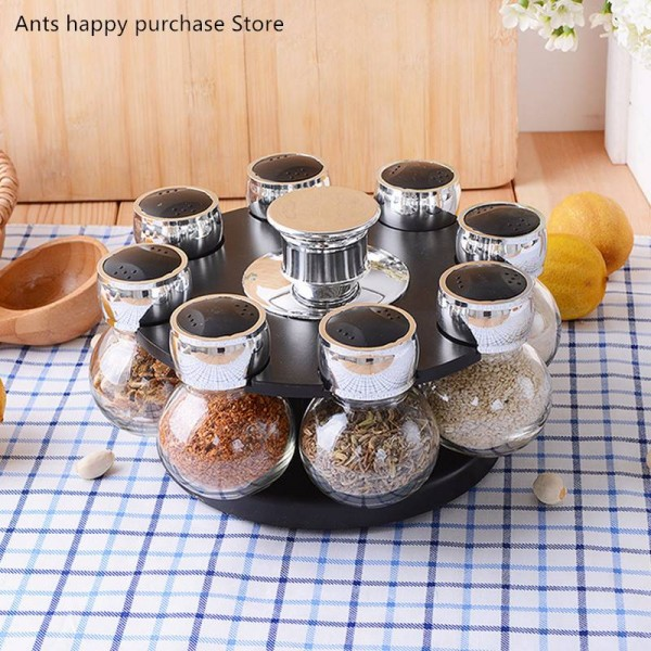 8pcs Rotary Spice Jar Set Glass Seasoning Box Salt Jar Spices and pepper shakers Household kitchen storage supplies combination