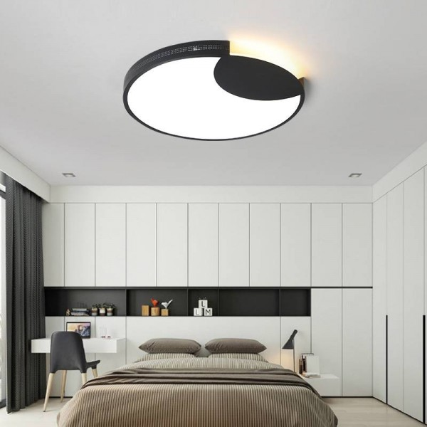 Acrylic Ceiling lights round lampshade with black or white body for living room bedroom home decorative lamparas de techo