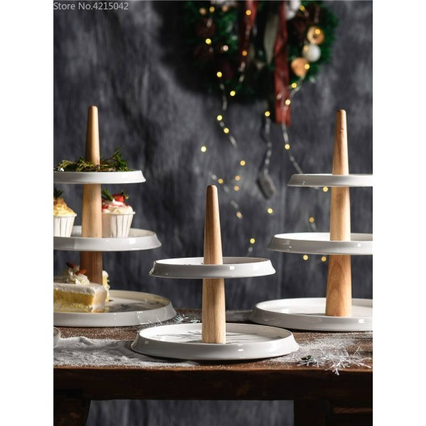 Afternoon tea snack rack ceramic marble 3 layer fruit plate living room home multi-layer cake dessert table display stand