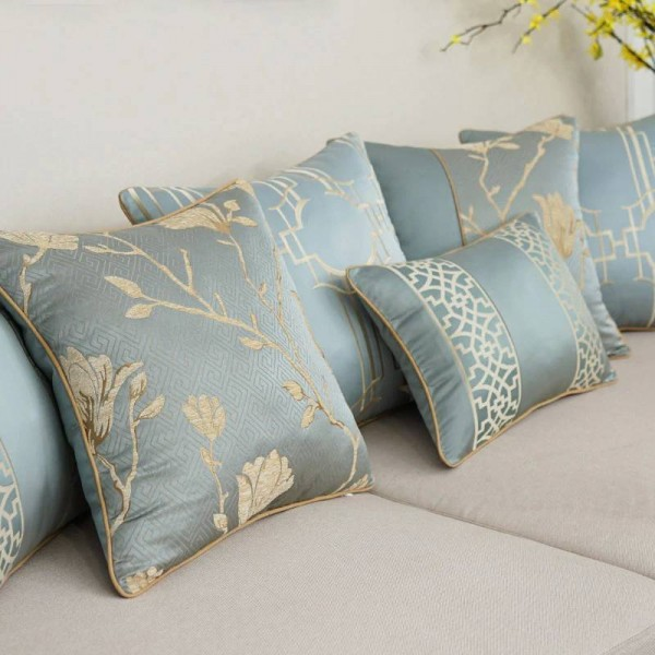 All Match Nordic Cushion Cover Elegant Blue Embroidery Texture Throw Decorative Pillows cases Car/Pillow Cover Housse De Coussin