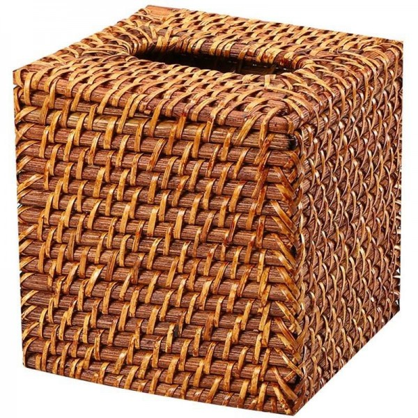 American Design Rattan Handmade Tissue Box Woven Square Trays Bottomless Desktop Napkin Box Brown 15x15Cm
