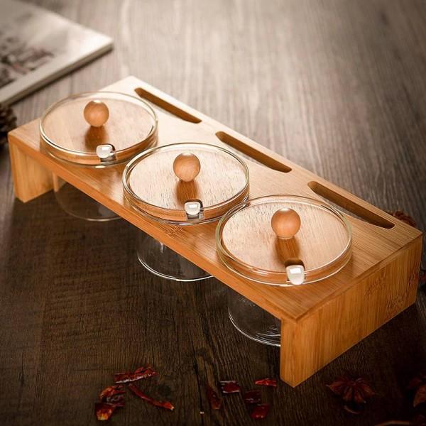 Bamboo pallet Spice Jars Glass Spice Transparent Condiments Jars Salt Jars Seasoning Pepper Cans Creative Seasoning Pot Sets