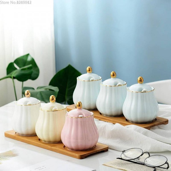 Bamboo Wood Ceramics Condiment spherical Spice Jars Sauce pot Set Salt Pepper Shakers Seasoning Sprays Cooking Kitchen Tool