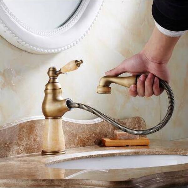 Basin Faucet Flexible Pull Out Faucet Golden Marble Polish Marble Stone Luxury Kitchen Sink Mixer Faucet Bathroom Faucets XT621