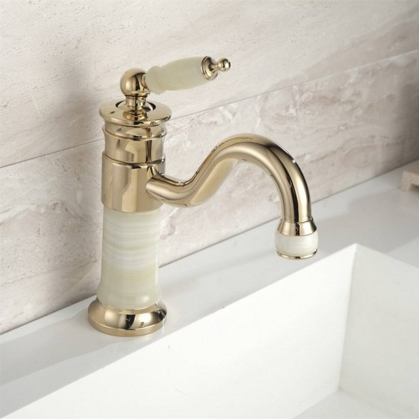 Basin Faucet Brass Jade Body with Marble Basin Faucet Single Handle Gold Finish Basin Sink Bathroom Crane XT616