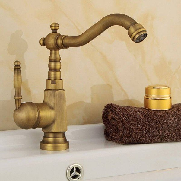 Basin Faucets Antique Brass Bathroom Sink Faucet Swivel Spout Single Handle Bath Deck Hot and Cold Mixer Tap Water Taps HJ6717F