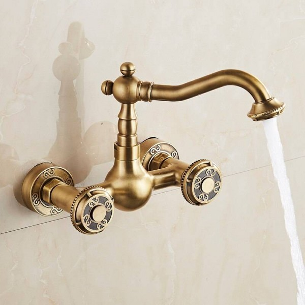 Basin Faucets Antique Bronze Brass Bathroom Kitchen Faucet Swivel Wall Mounted Dual Handle Hot Cold Mixer Taps WC Taps LAD-18002