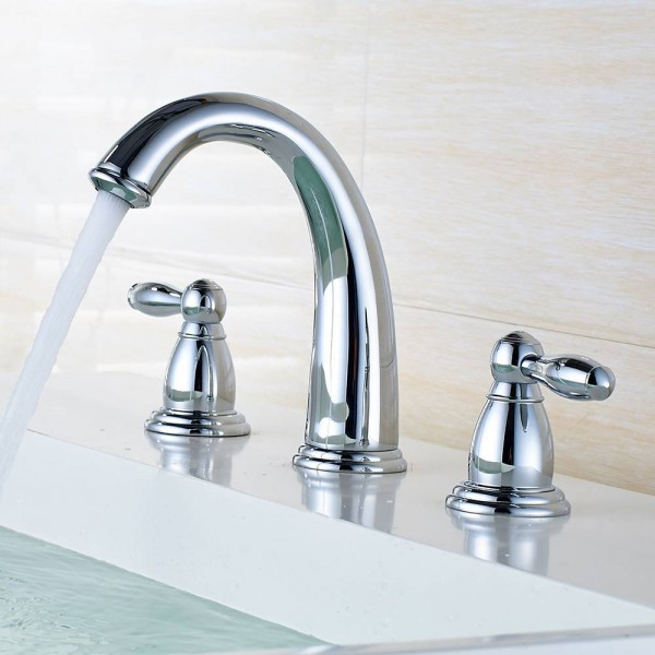 Basin Faucets Brass Brushed Nickel 3 Pcs Bathroom Sink Faucet Double Handle 3 Hole Deck Mounted Bathtub Hot Cold Mixer Tap 6112