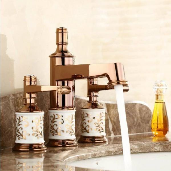 Basin Faucets Brass Golden 3 Holes Double Handle Bathroom Sink Faucet Luxury Bathbasin Bathtub Taps Hot Cold Mixer Water JR-302