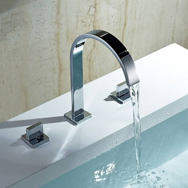 Basin Faucets Brass Polished Chrome Deck Mounted Square Bathroom Sink Faucets 3 Hole Double Handle Hot And Cold Water Tap LAD-109