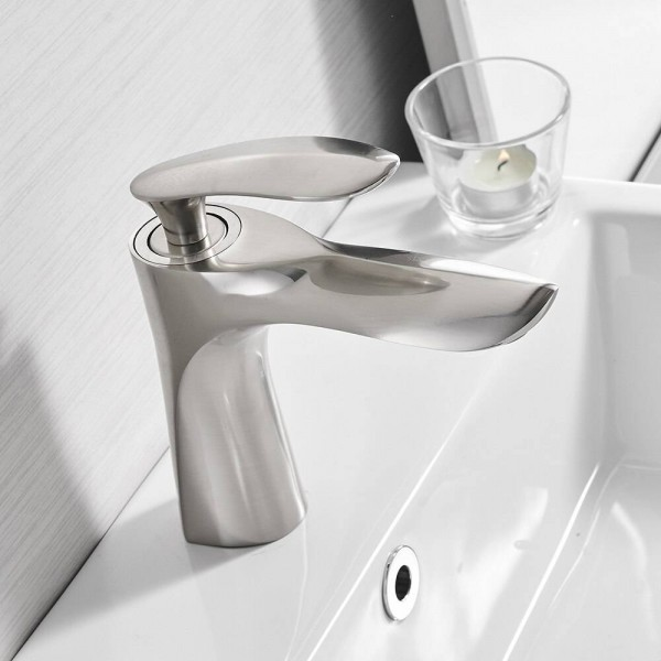 Basin Faucets Brushed Nickel Elegant Bathroom Faucet Hot and Cold Water Basin Mixer Tap Chrome Brass Toilet Sink Water Crane 220