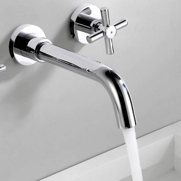 Basin Faucets Wall Mounted Brass Bathroom Sink Basin Mixer Tap Faucet 3 Pcs Chrome Faucet Dual Handle Bathroom Faucets